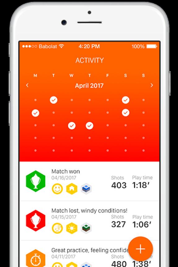 De Babolat Play app stelt alle verzamelde tennisdata beschikbaar aan de gebruiker.