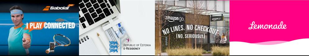 De businessmodellen van Babolat, e-Estonia, Amazon Go! en Lemonade.